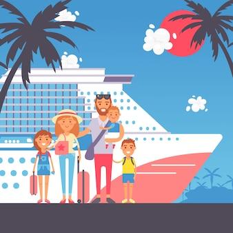 Famiglia felice in viaggio di crociera. personaggi dei cartoni animati in stile piatto, famiglia con bambini arrivati sull'isola tropicale per le vacanze estive. genitori e figli che viaggiano