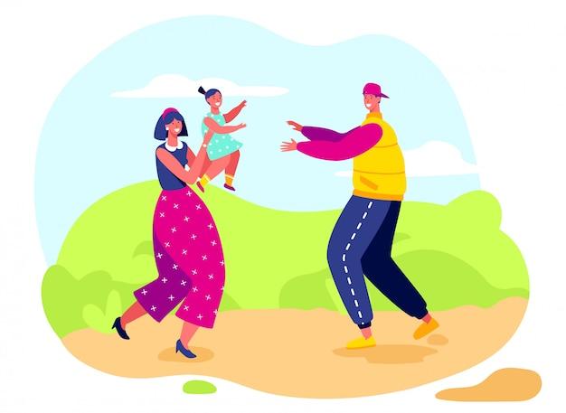 Famiglia felice insieme, madre, padre e figlia, illustrazione vettoriale
