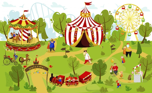 Famiglia felice insieme nel parco di divertimenti, gente della luna park di estate, illustrazione