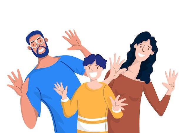 Famiglia felice. padre, madre e figli.