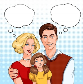 Famiglia felice. padre, madre e figlia con nuvole sonore. illustrazione pop art in stile fumetto.