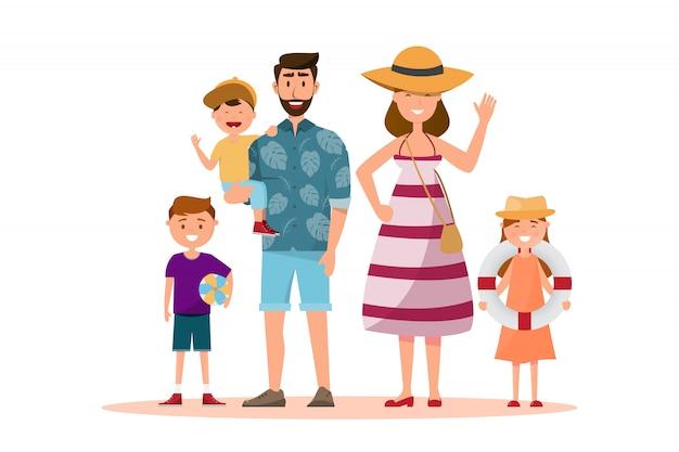 Famiglia felice. padre, madre, figlio e figlia insieme al viaggio estivo