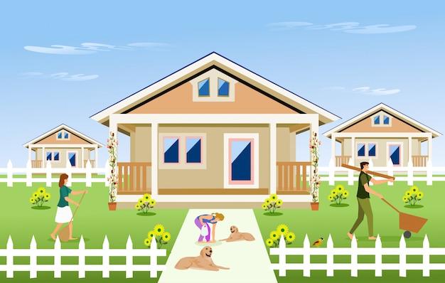 Famiglia genitore-figlio pulizia del giardino di fronte alla casa