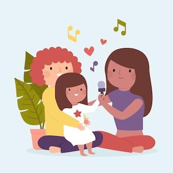 Famiglia godendo il tempo insieme cantando