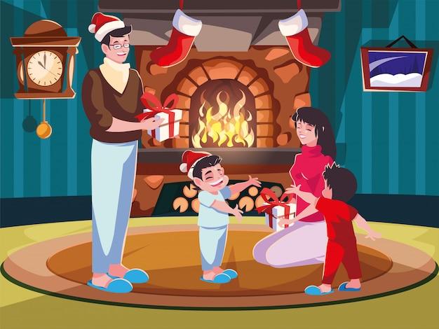 Famiglia in salotto con decorazioni natalizie, scena di sera di natale