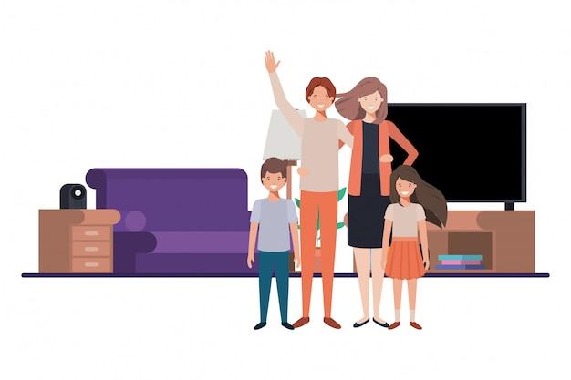 Famiglia in salotto personaggio avatar