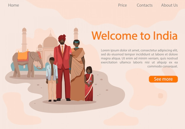 Famiglia in simbolismo indiano vestiti indiani nazionali