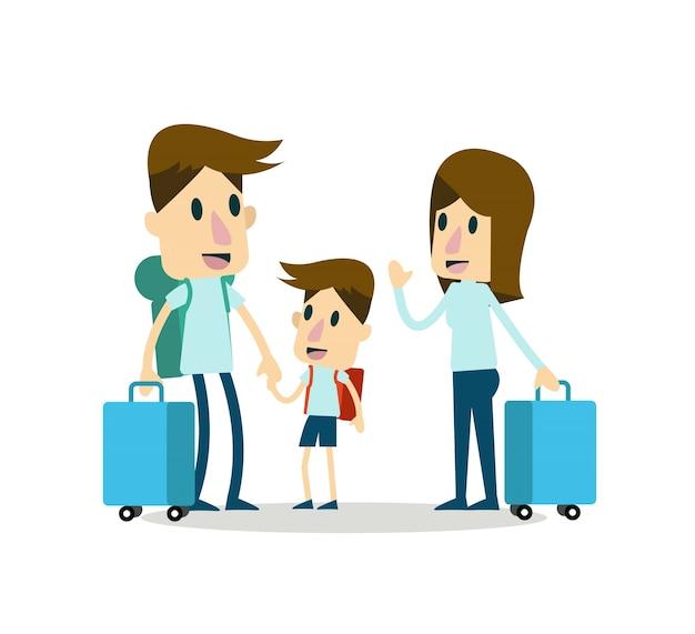 Famiglia in vacanza. disegno di carattere piatto