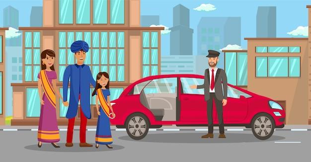 Famiglia indiana ricca che aspetta l'illustrazione dell'automobile