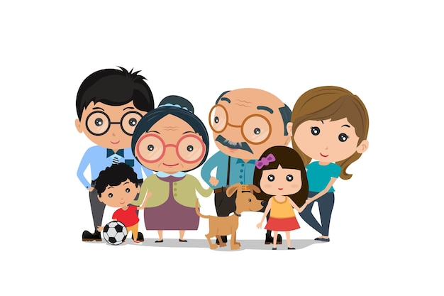 Famiglia isolata su sfondo bianco