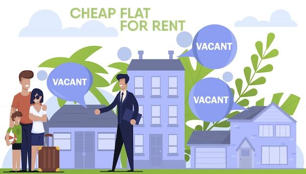 Famiglia itinerante e agente immobiliare al lavoro