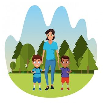 Famiglia madre single con due figli