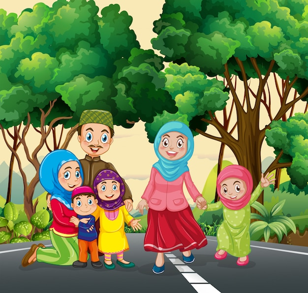 Famiglia musulmana al parco