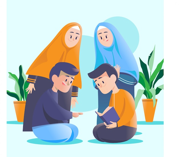 Famiglia musulmana amichevole