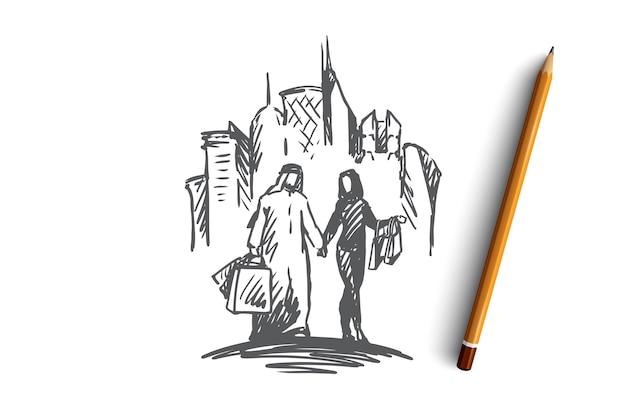 Famiglia musulmana disegnata a mano sui grattacieli di acquisto sullo schizzo di concetto del fondo