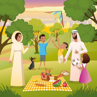 Famiglia musulmana felice su picnic nel vettore del parco della città