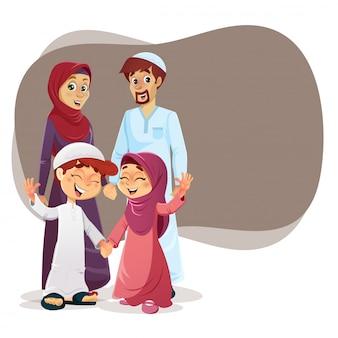 Famiglia musulmana felice