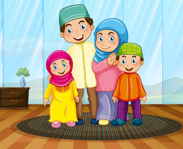 Famiglia musulmana nel soggiorno