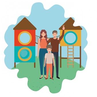 Famiglia nel personaggio di parco giochi avatar