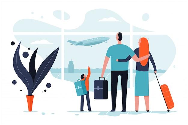 Famiglia nel terminal dell'aeroporto con bagagli. passeggeri e illustrazione piana di concetto del fumetto di viaggio.