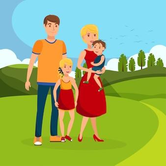 Famiglia nell'illustrazione piana di vettore del fumetto del parco