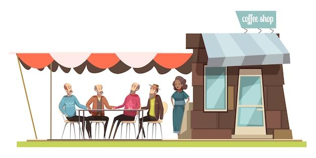 Famiglia nella composizione nella progettazione della caffetteria con le figurine del fumetto della giovane donna e di quattro uomini anziani che parlano all'illustrazione di vettore di svago