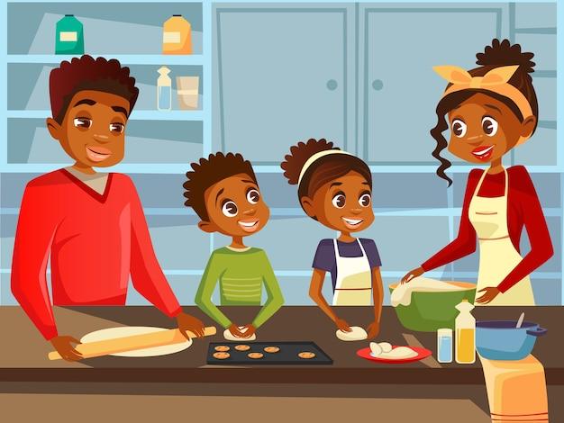 Famiglia nera afroamericana che prepara insieme il pasto dell'alimento alla cucina