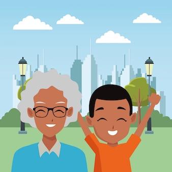 Famiglia nonno e cartoni animati per bambini