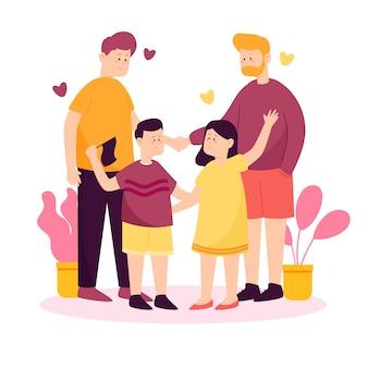 Famiglia omosessuale che celebra il giorno dell'orgoglio