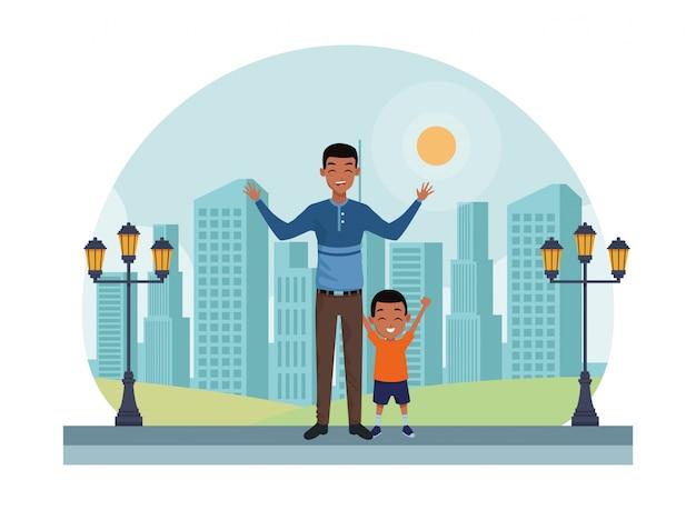 Famiglia padre single con cartone animato bambino