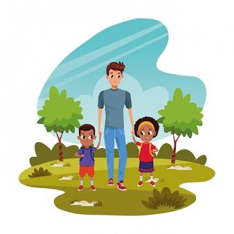 Famiglia padre single con figli