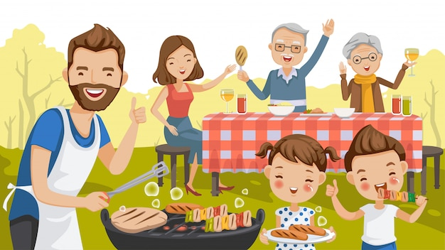 Famiglia partito festa in giardino in giardino.
