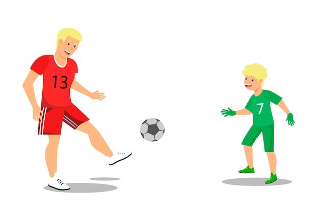 Famiglia piana di vettore che gioca a calcio in aria fresca.