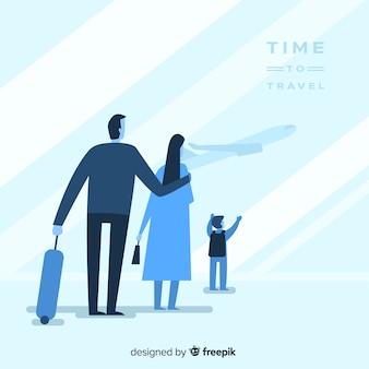 Famiglia piatta blu che viaggiano sullo sfondo