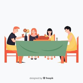 Famiglia piatta che mangia insieme