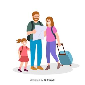 Famiglia piatta in viaggio sullo sfondo