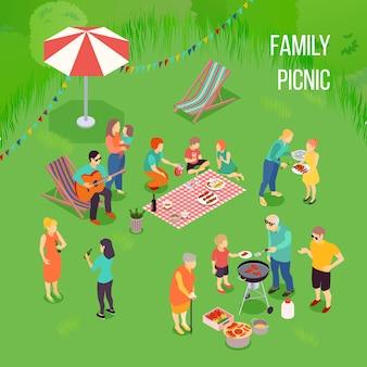 Famiglia picnic composizione isometrica