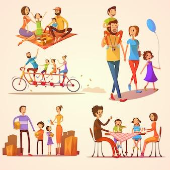 Famiglia retrò cartoon set