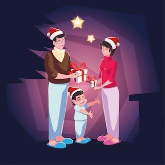 Famiglia scena serale di natale, genitori e figli