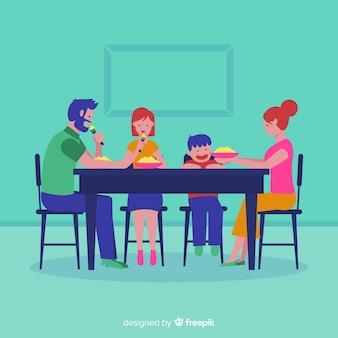 Famiglia seduti attorno al tavolo