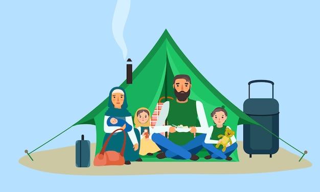 Famiglia senza tetto nell'insegna di concetto della tenda, stile piano.