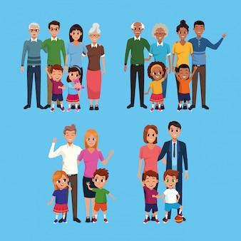 Famiglia set di raccolta di cartoni animati