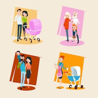 Famiglia set genitori con bambini piccoli nonni