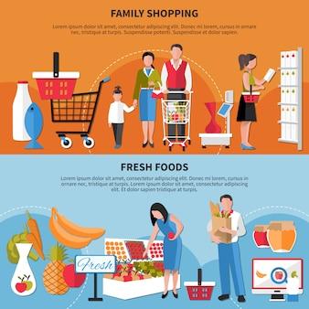 Famiglia shopping e set di banner di alimenti freschi
