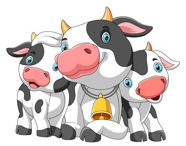 Famiglia simpatico cartone animato di mucca