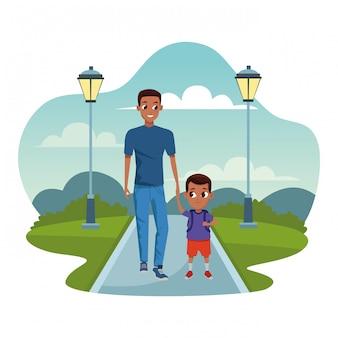 Famiglia single padre con figlio