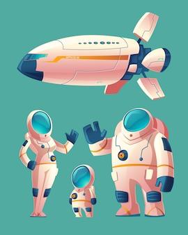Famiglia spaziale, persone in tuta spaziale - donna, uomo, bambino con nave spaziale, navetta