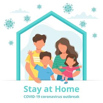 Famiglia stare a casa in auto quarantena, protezione da virus