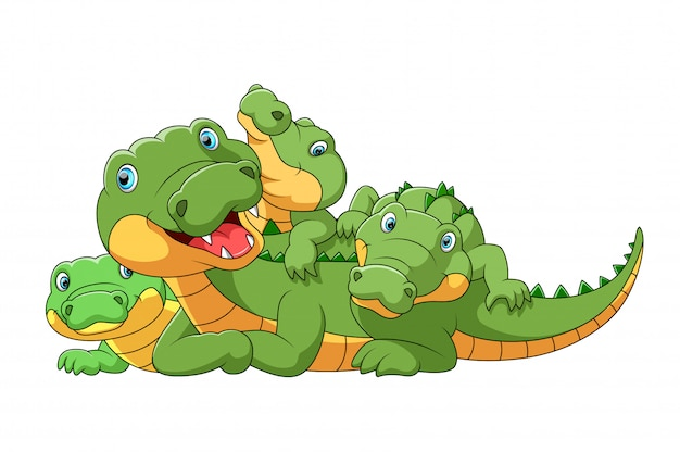 Famiglia sveglia del fumetto del coccodrillo che gioca insieme