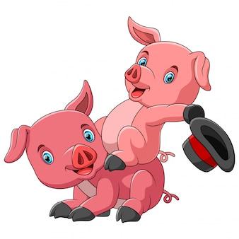 Famiglia sveglia del fumetto del maiale che gioca insieme